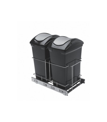 Porta residuos doble en pvc con guias telescopicas